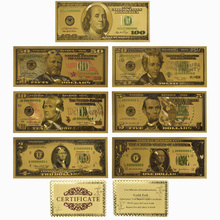 7 PCS/Set Gold Decoration 24K Plated Dollars USD Collection Banknotes