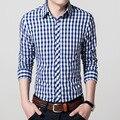 2017 новая коллекция весна лето тонкий Мужская Рубашка С Длинным Рукавом 100% хлопок клетчатую рубашку повседневная бизнес рубашка железа молодых мужчин большой размер