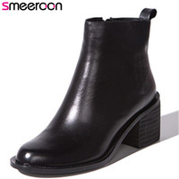 Smeeroon 2018 fashion autumn winter boots women round toe med heels ankle boots lace up high quality cow leather boots