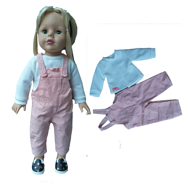 High quality Belt pants Set Fit 43cm Baby new Born Doll boy Suit for 18  inch Accessories Children doll Birthday Gifts 2a816ebcd00f