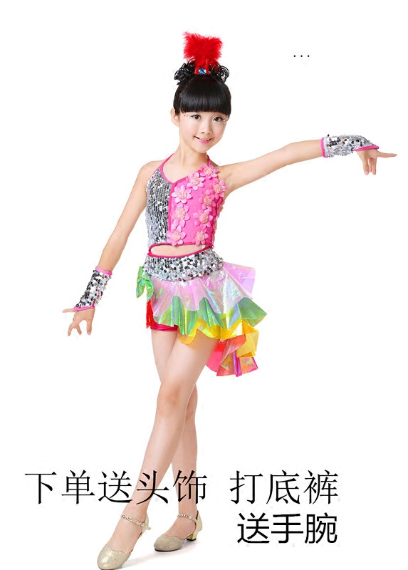 Girls Latin Dance Performance Clothing Children Latin Practice Clothing Group Competition Skirt Children Latin Dance Costumes