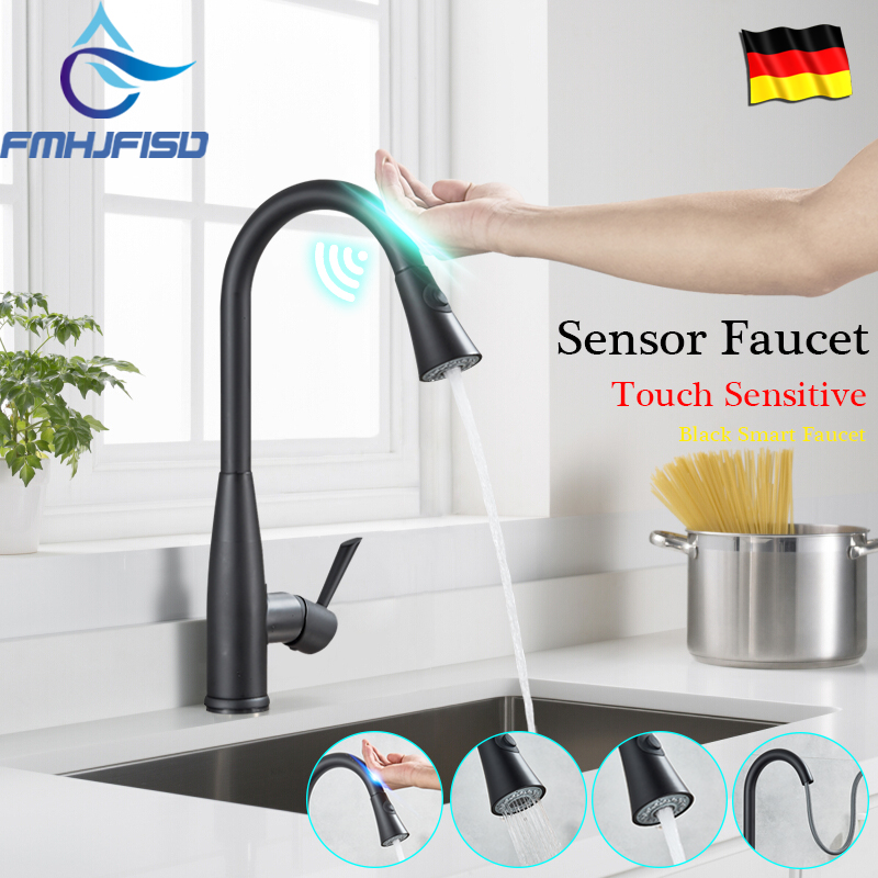 Black Automatic Sensor Kitchen Faucets Touch Inductive Kitchen Faucet Sensitive Smart Water Saving Water Mixe Tap