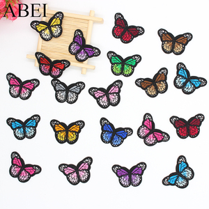 24pcs/lot mix 12 colors Iron On Patches Butterfly Stickers for Clothes DIY Appliques clothes Patches Jeans Bgas Coats Badge(China)