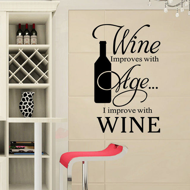 Frase vino wall stickers smontabile del vinile di arte for Stickers cucina