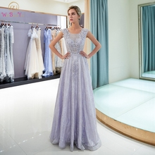Purple Evening Dresses 2019 Elegant Lace Pearls Beads Formal Party Dress O-Neck A Line Popular Sleeveless Special Occasion Gowns