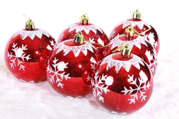 6pcs High Quality Christmas Tree Ornaments 8cm Red
