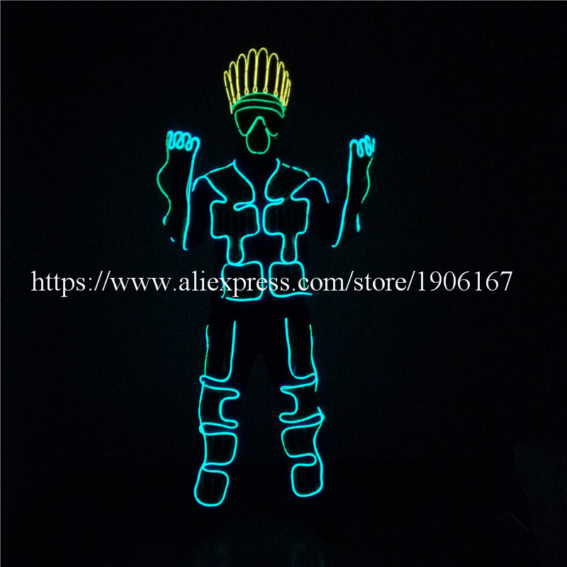 Led Luminous Colorful EL Cold Wire Robot Suit DJ DS Illuminated Ballroom Costume Dance Clothing For Stage Nightclub Clothes