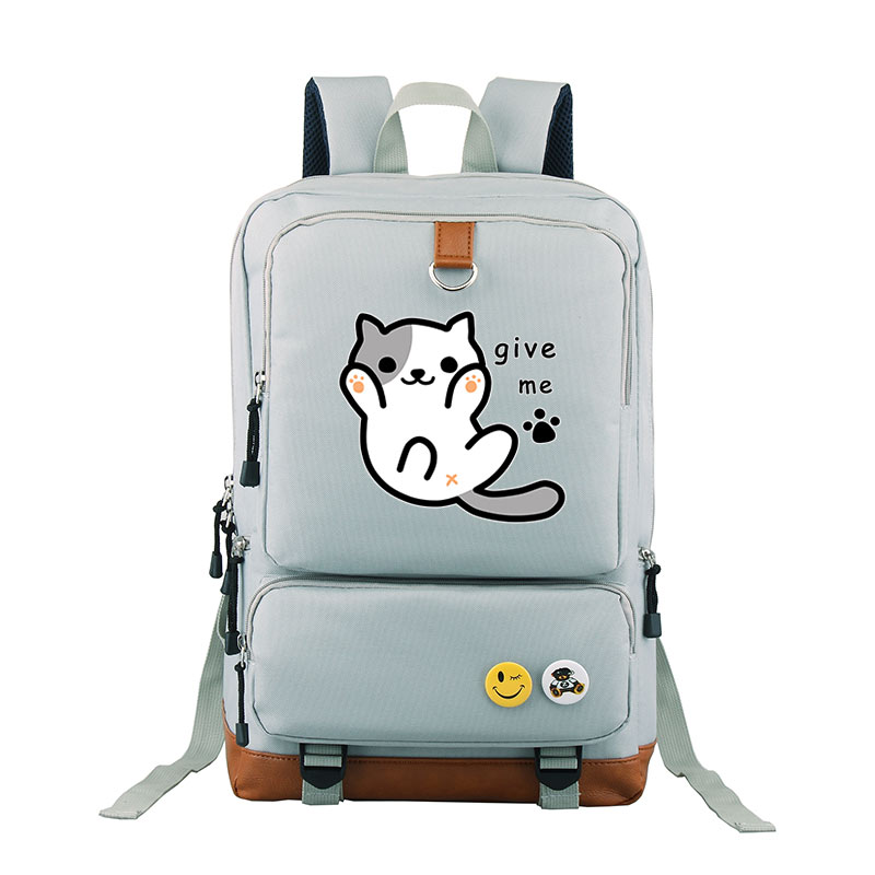 Neko Atsume Cat Bag School Backpack Travel Shoulder Bag Lovely Cute Cat Kitty Backyard For Girls Women Bags For Teenagers