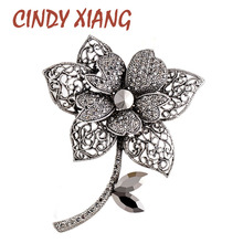 CINDY XIANG 3 colors choose rhinestone large flower brooch hollow-out fashion plant pin wedding coat brooches for women gift