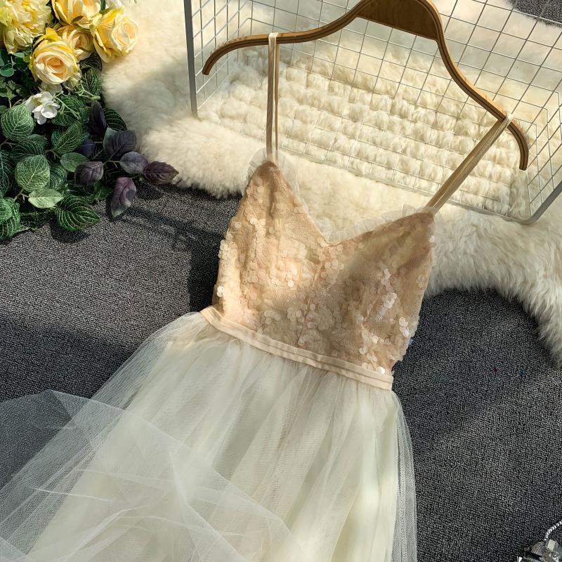 V-Neck Sequins Backless Sleeveless A-line Dress 10