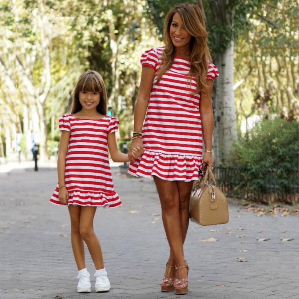 Family Matching Clothes Mom And Daughter Outfits Dress Striped Dresses Short Sleeve Dress Parent-child Clothes
