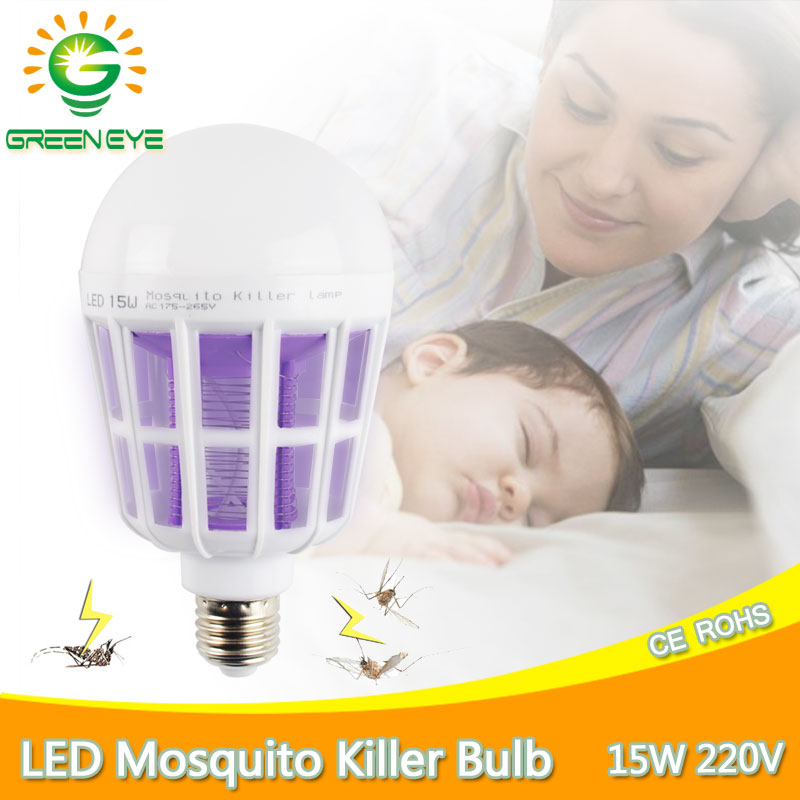 No Pollution UV Trap Electric LED Mosquito Killer Lamp Bulb 220v 15w Insect Bug Wasp Pest Fly Outdoor Indoor Kitchen Restaurant socket electric mini mosquito lamp led insect mosquito repeller killing fly bug insect night housefly freeshipping