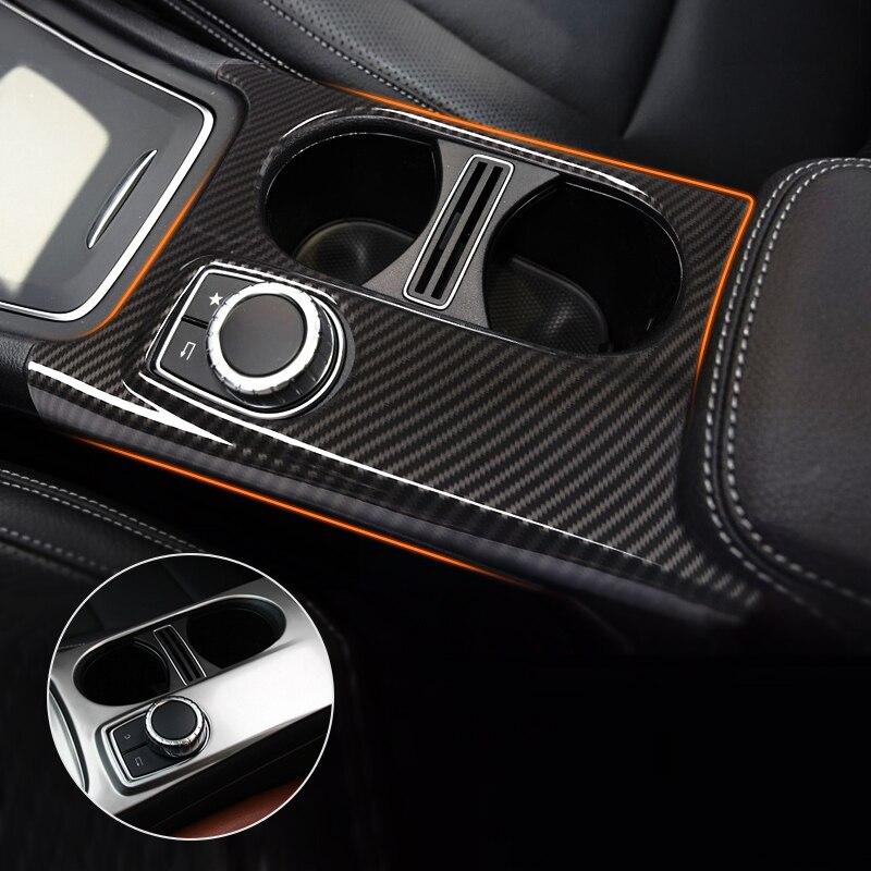 For Mercedes Benz A GLA CLA Class W176 X156 C117 Chrome / Carbon Fiber Texture Car Center Console Water Cup Holder Cover Trim