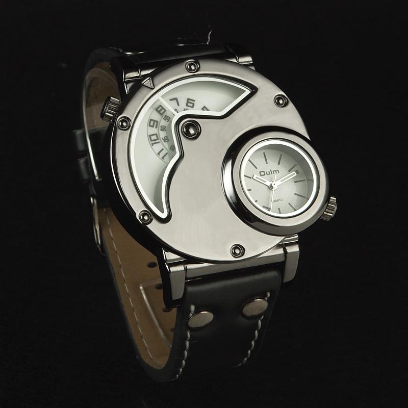 Aviator Pilot Wrist Watch w/ Dual time, black leather 5