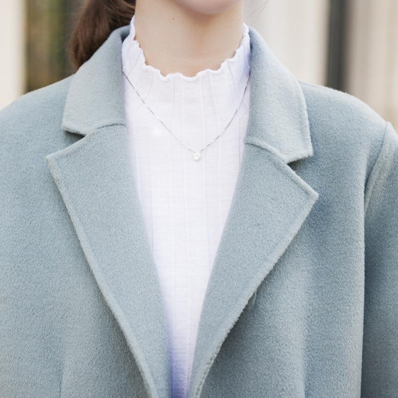 Mode Cardigan Revers Élégant Nouveau Light Laine Double En Femmes Haut Femelle Colour caramel Long Boutonnage Blue 100 2018 Gamme Tranchée D'hiver Manteau De r0wargfxq