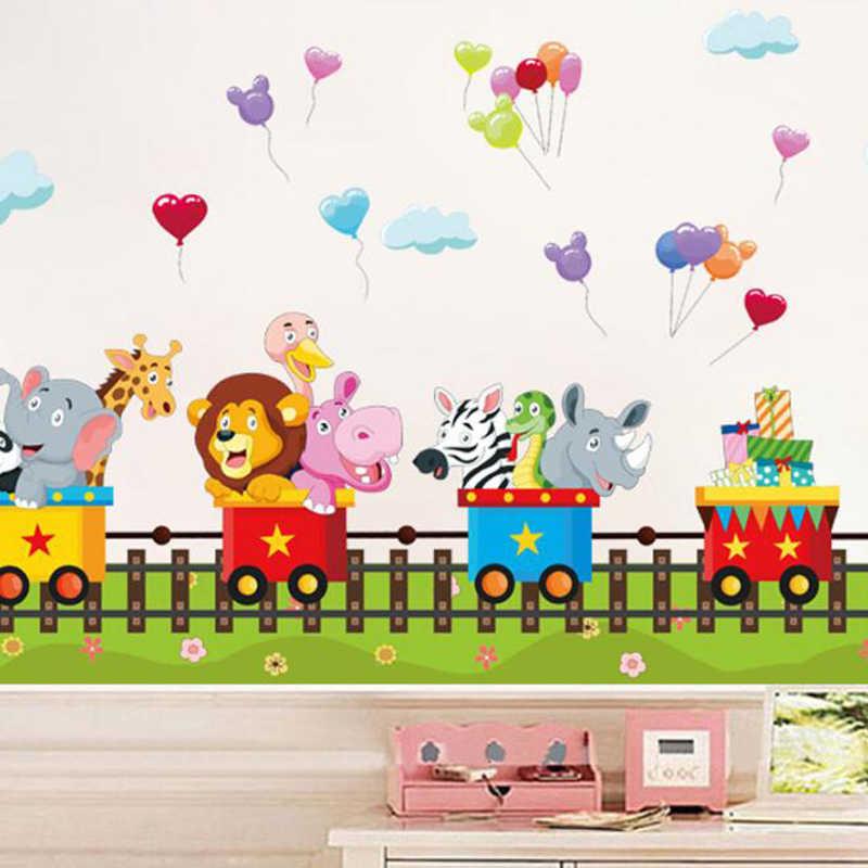 Lindas Pegatinas De Pared De Tren De Dibujos Animados Para Habitaciones De Niños Extraíbles Dormitorio De Bebé Efecto 3d Ventana Pared Stikers