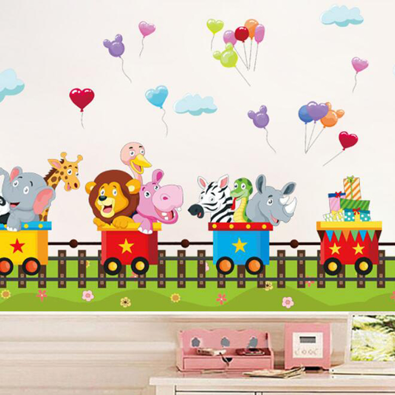 US $6.65 9% OFF|Cute cartoon train wall stickers for kids rooms removable  baby bedroom 3d effect window wall stikers home decor wall pictures-in Wall  ...