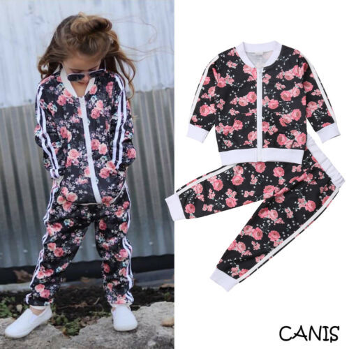 2019 Baby Kids Toddler Girls Hot Sell Tracksuit Floral Print Sweat Shirt Tops Coat + Pants 2PCS Outfits 2-7Y 1