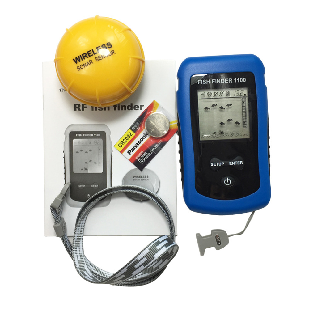 New multi wireless portable sonar fish finder 125khz 90 for Sonar fish finder