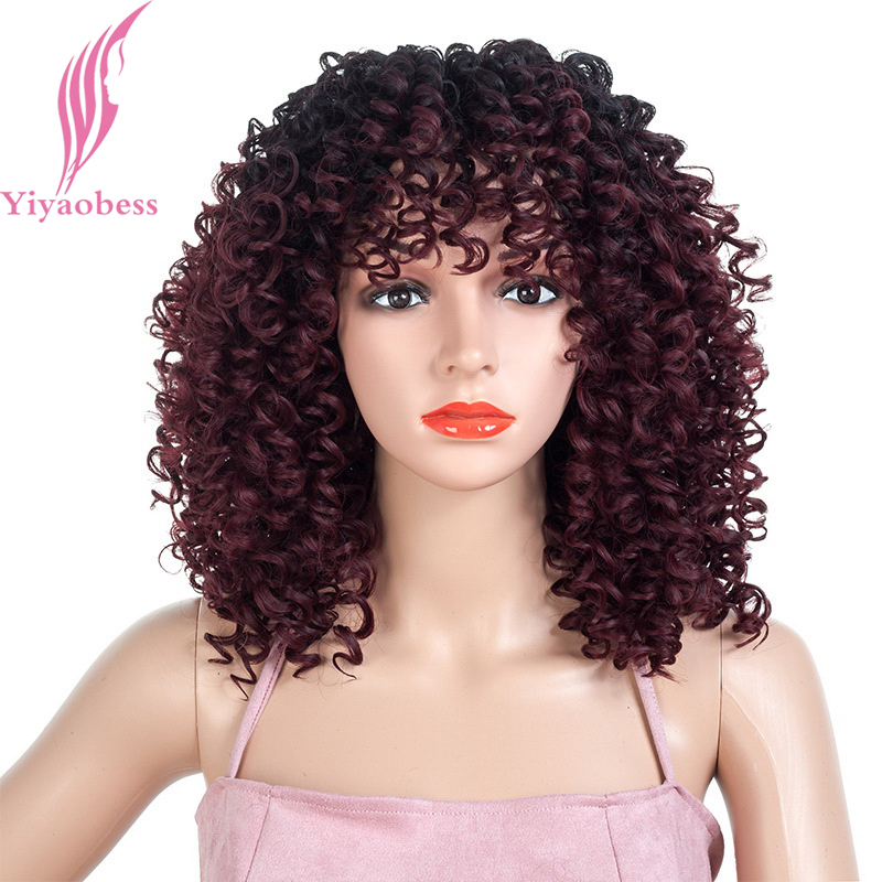 Yiyaobess 18inch Synthetic Short Afro Kinky Curly Wig Black Wine Red Brown Ombre African American Wigs For Black Women