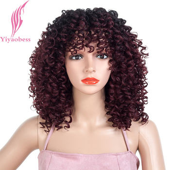 цена на Yiyaobess 18inch Synthetic Short Afro Kinky Curly Wig Black Wine Red Brown Ombre African American Wigs For Black Women