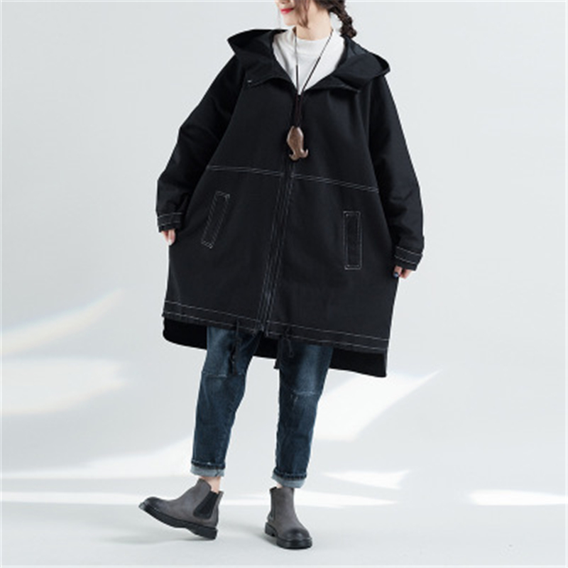 Autumn Winter Large Size Women's Windbreaker Vintage Loose Female Beit   Trench   Big Size Spliced Outerwear O-neck Long Coat D858