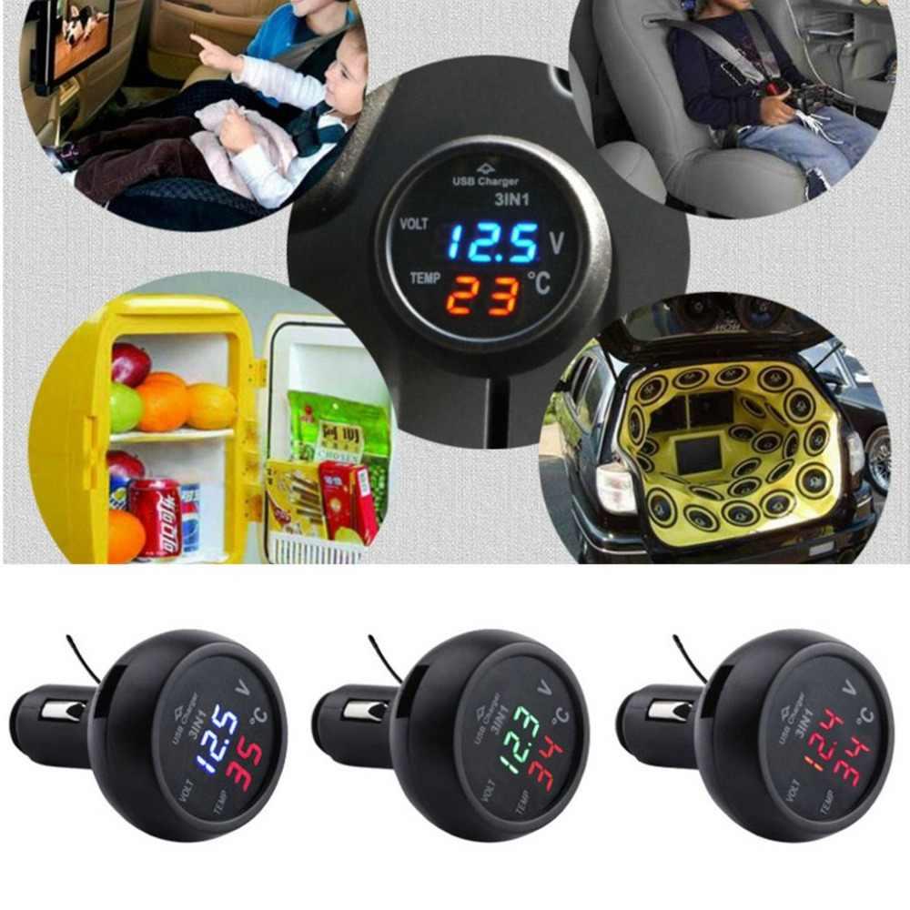 3-в-1 многофункциональный автоматический цифровой светодиодный термометр Напряжение таблице обнаружения USB Автомобильное Зарядное устройство сигареты Вольтметр метр