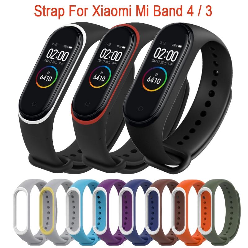 Per Xiao mi mi fascia 4 Cinghia del Silicone Cinturino Da Polso Per Xiao Mi Mi fascia 4 accessori braccialetto Mi band 4 di ricambio Dual Cinghie di Colore