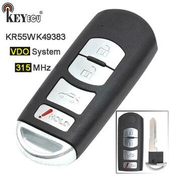 Keyecu 315 MHz FCC: KR55WK49383 VDO Penggantian Sistem 4 Tombol Smart Prox Remote Kunci Fob untuk Mazda 6 2009 2010 2011 2012 2013