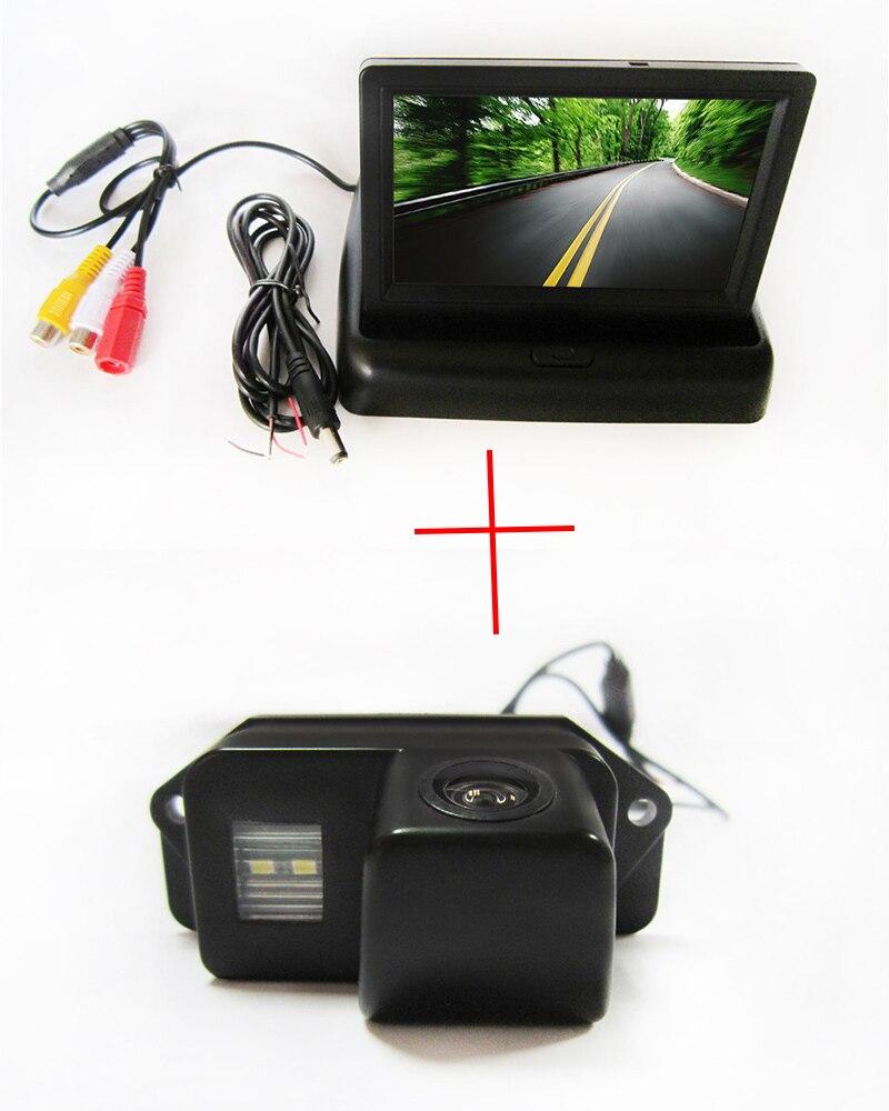 Caméra de vue arrière de voiture CCD couleur pour Mitsubishi Lancer Evolution, avec moniteur TFT LCD pliable de 4.3 pouces
