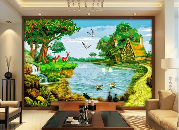 3d room wallpaper custom mural non-woven wall sticker  Swan lake fawn fruit tree farm  painting photo 3d wall murals wallpaper custom photo 3d wallpaper non woven mural wall sticker the big tree on the grass painting picture 3d wall room murals wallpaper