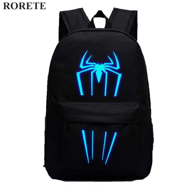 Spider-Man Glow bags female students backpack Teenage Girls Cute Bookbags Vintage Laptop Backpacks Female mochilas school bag new style school bags for boys