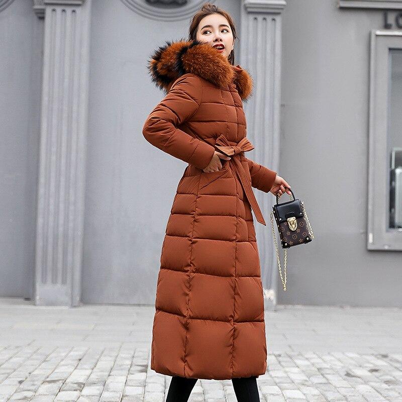 Les Parkas blanc 2018 rouge D'hiver Fourrure Femmes Femelle Veste Coton De Noir Casual Hiver Manteau Chaud Long gris Col Mince Pour HqvRHa