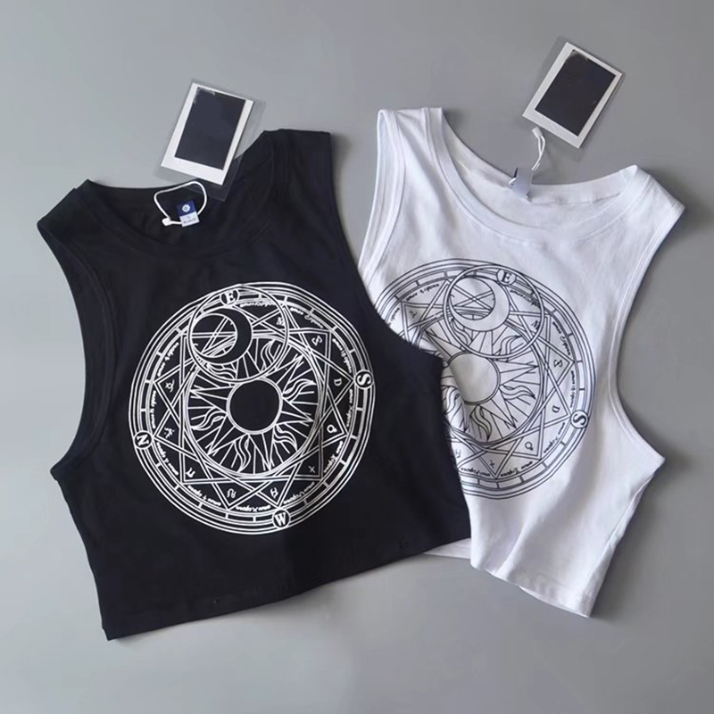 New Womens Tanks Loose Gothic Symbols Moon Sun Printing Crop Top Cropped Top Sleeveless Camis Tank Top