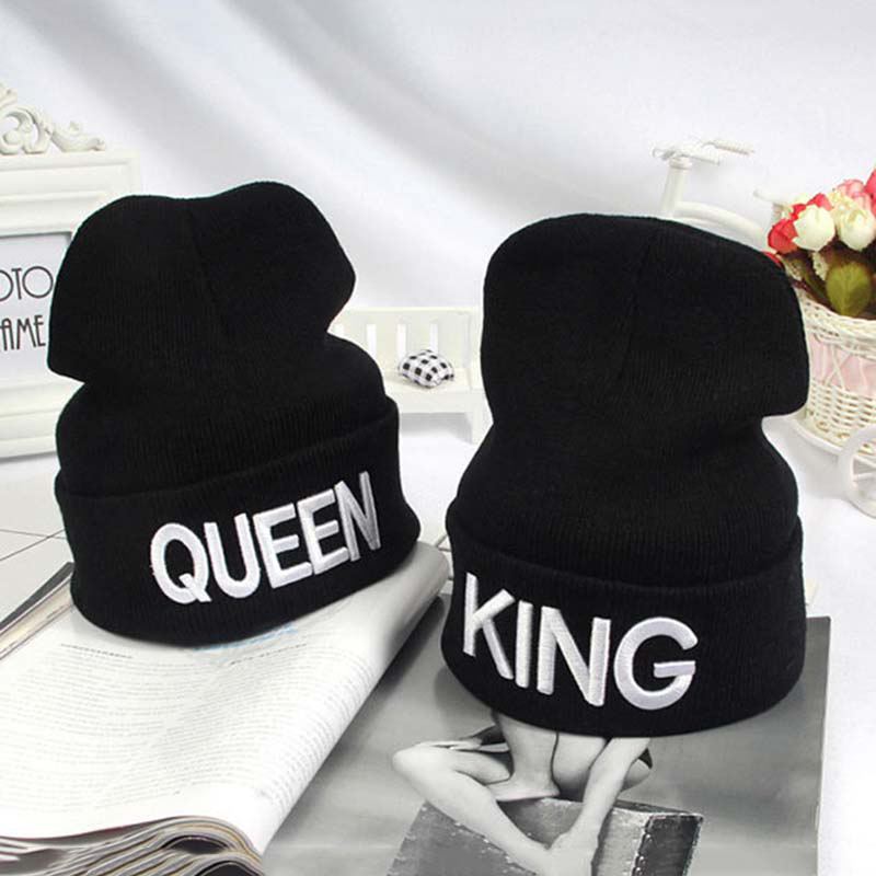 Men And Women Hip Hop Winter Beanies Fashion Knitted Caps Letters King Queen Embroidered Caps Couple Lovers Hats