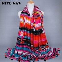 NITEOWL Women Printed Tassel Scarf Woman Scarf Luxury Barnd Polyester Tassels Big Shawl Lady Head Wrap