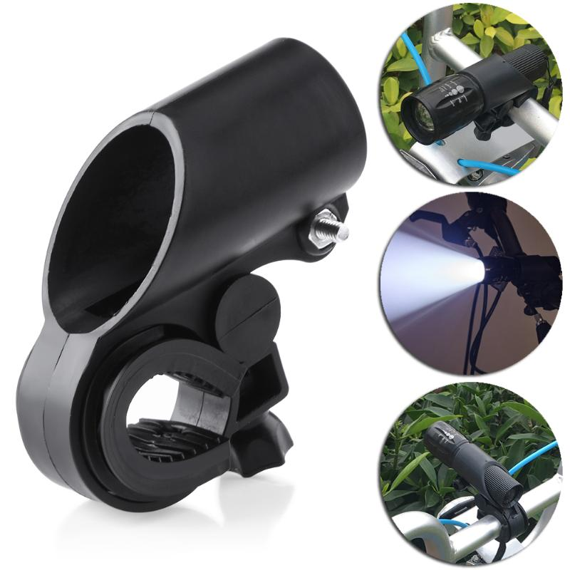 High Quality Black Plastic Bike Front Handlebar Torch Lanterna Mount LED Flashlight Clamp Adjustable Holder Mount Clip Bracket