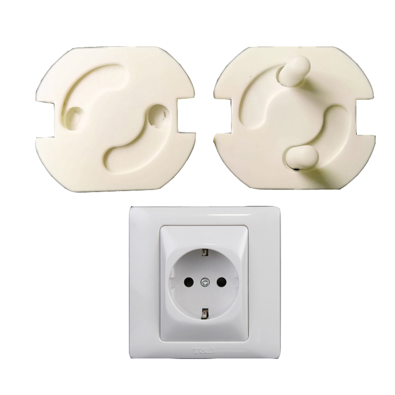 8Pcs/LOT White ABS Baby Safety Plug Socket Protective Cover Protective Insulation Against Electric Shock 2 Hole Round TRQ0229