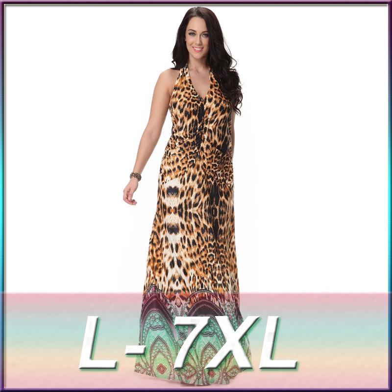 Onglyp Women Summer Floor Length Dress Sexy Leopard Print Sleeveless