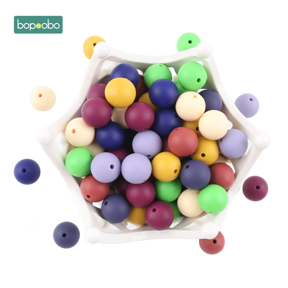 Bopoobo 10pcs New Color Silicone Beads Accessories Round Beads Food Grade Beads DIY Jewelry Baby Teethers Nurse Beads 12mm