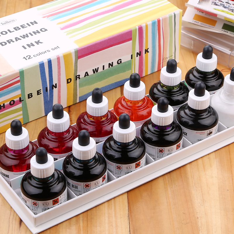 New Product Holbein waterproof comics watercolor ink pigment 12 color 30ml pigment ink nature