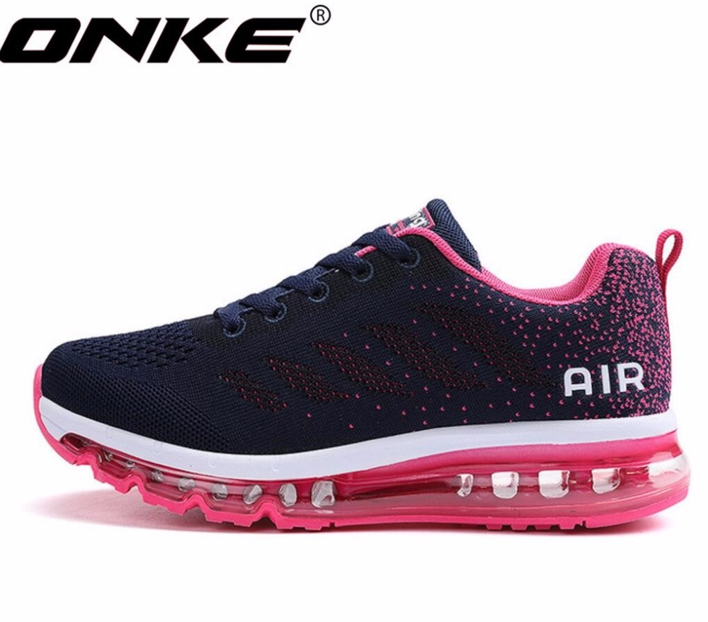 ONKE New listing hot sales Spring and Autumn Fly line Breathable Full air cushion sneakers women running shoes 833-A33 summer breathable air cushion fly line sports women running shoes shock absorption increase tourism shoes spring female sneakers