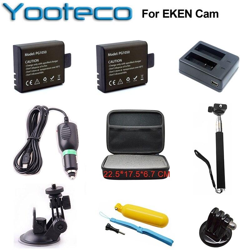 Para eken Accesorios conjunto dual cargador 1050 mAh li-ion cargador de coche soporte monopie almacenamiento para H9 h9r acción cámara