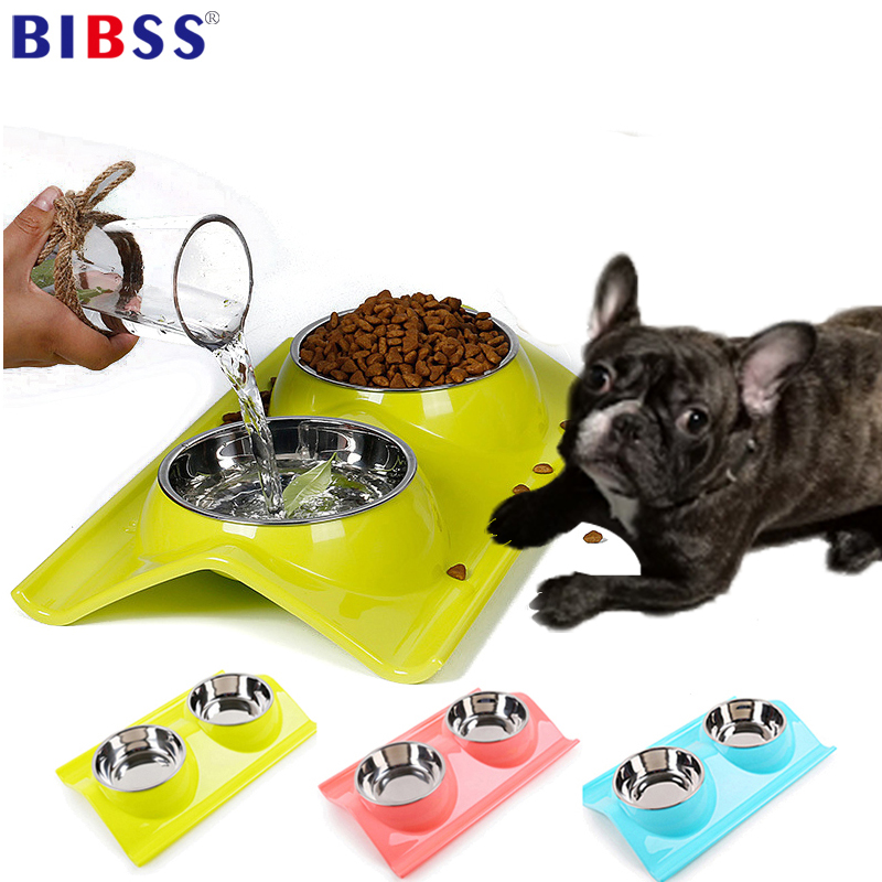 Pet Double Dog Bowl Indoor Drinking Water Food Storage Puppy Cat Bowls  Feeder Non Toxic PP Resin Stainless Steel Combo