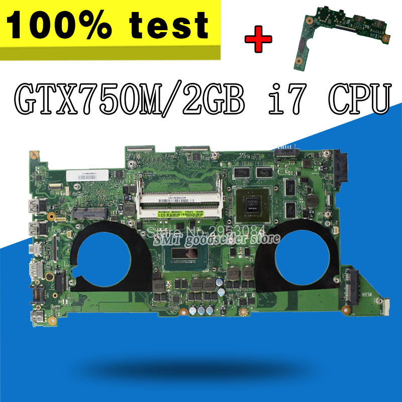 Free board +N750JV Motherboard i7-4700HQ GT750 2G For ASUS N750J N750JK Laptop motherboard N750JV Mainboard N750JV Motherboard
