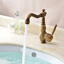 Deck Mounted Brass Single Handle Bathroom Vessel Sink Faucet Antique Single Handle Basin Mixer Tap