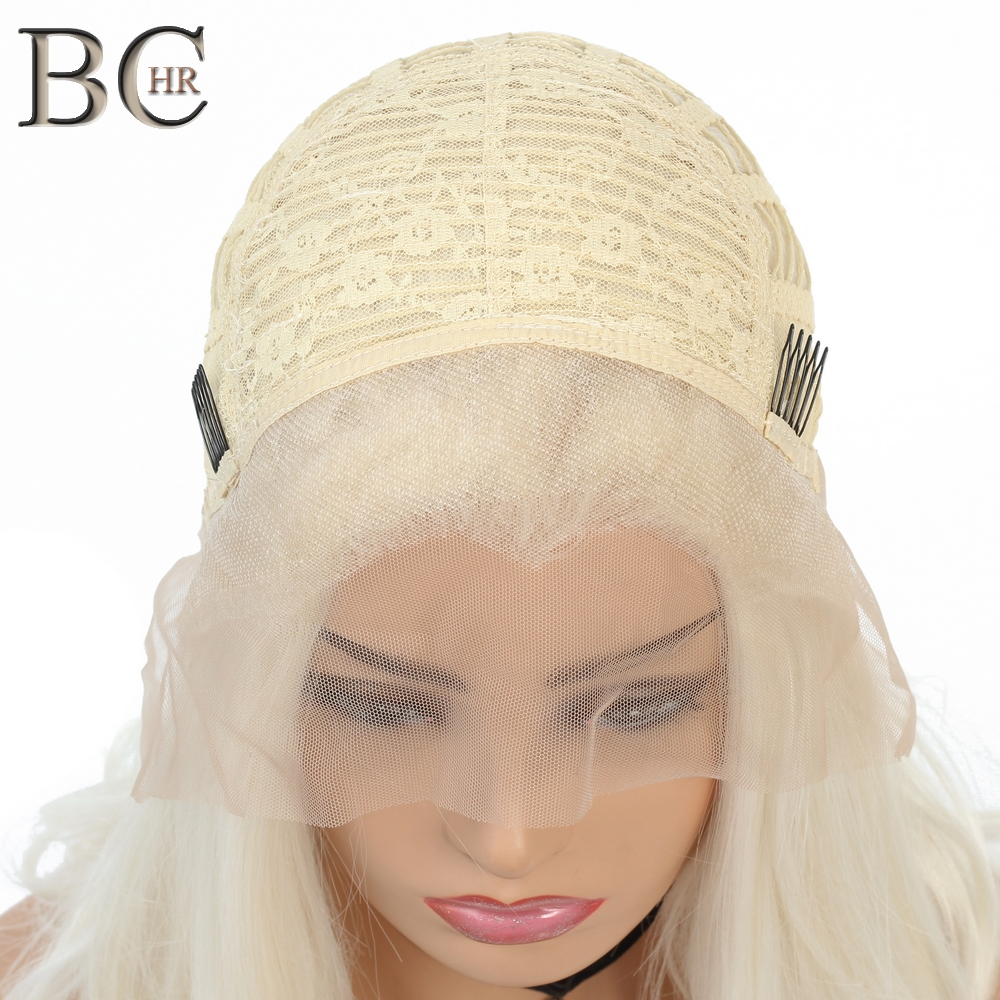 BCHR 613 Blonde Wig Synthetic Lace Front Wigs for White Women Free Part Short Wig Heat Resistant Fiber in Synthetic Lace Wigs from Hair Extensions Wigs