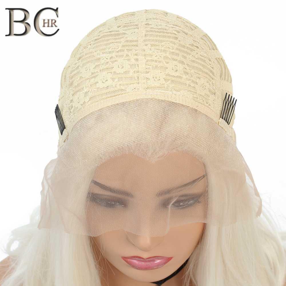 BCHR 613 peluca rubia sintética 13*2 pelucas delanteras de encaje para mujeres blancas parte libre peluca corta resistente al calor de fibra