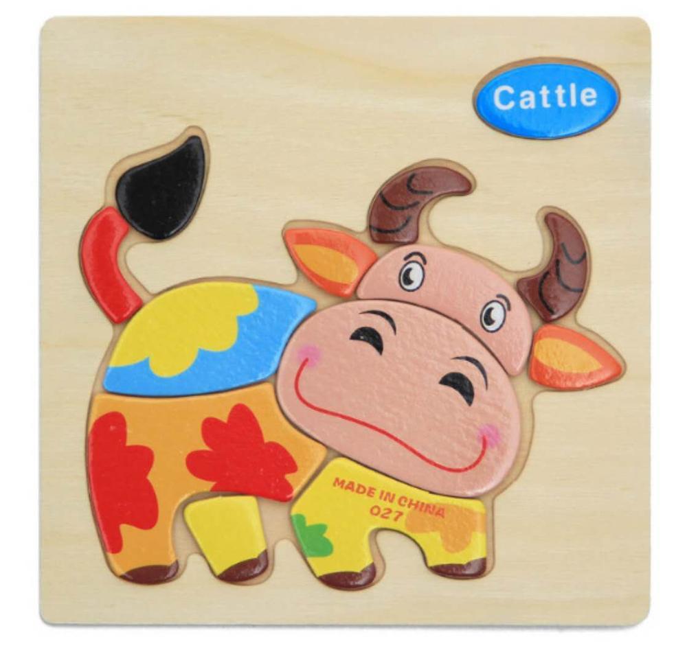 3D деревянные головоломки, игрушки для детей, Деревянные 3d Мультяшные головоломки с животными, интеллектуальные детские развивающие игрушки для детей - Цвет: Оранжевый