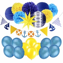 22pcs Nautical Themed Party Decor Sea Sailboat Flags Paper Star Lanterns Balloon Boy Kids Birthday Marine Style Supplies